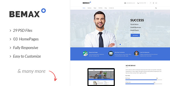 Bemax multipurpose corporate business psd template by authemes bemax multipurpose corporate business psd template business corporate wajeb Choice Image