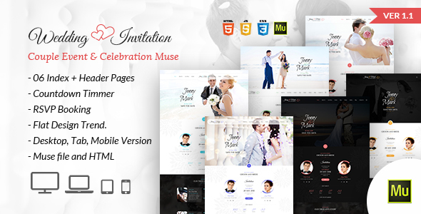 wedding invitation couple event celebration muse template by