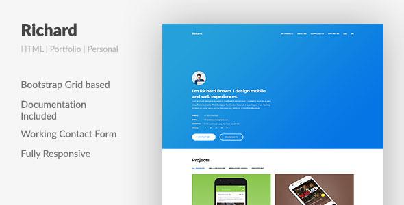 Richard UX Designer ResumePortfolio HTML Template By Aspirity - E portfolio templates