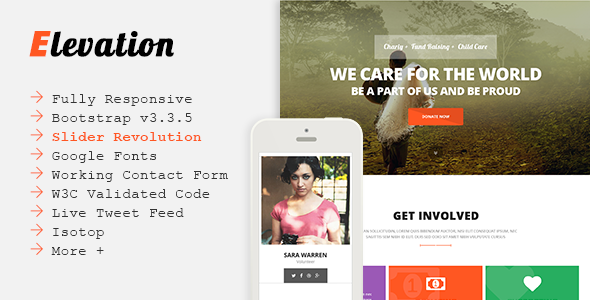 ELEVATION - Charity/Nonprofit/Fundraising Template by Jewel_Theme ...