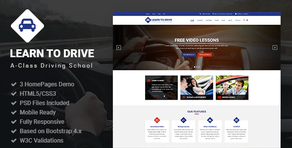 learntodrive driving school lessons html5 template by authemes