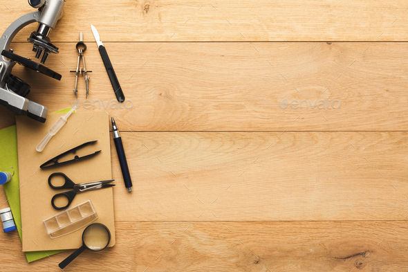 Desktop With Various Stationery For School Education, Top View Stock Photo  By Prostock Studio