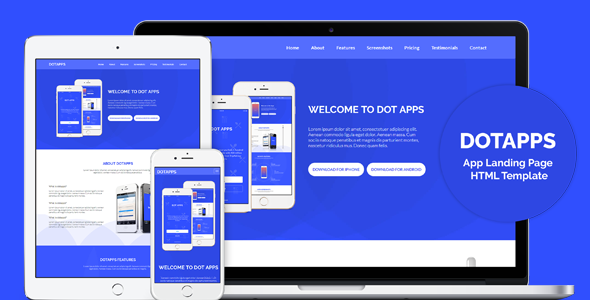 dotapps app landing page html template by dot themes themeforest. Black Bedroom Furniture Sets. Home Design Ideas