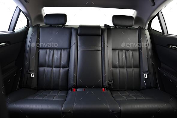 back seats of modern luxury car interior, black leather Stock Photo