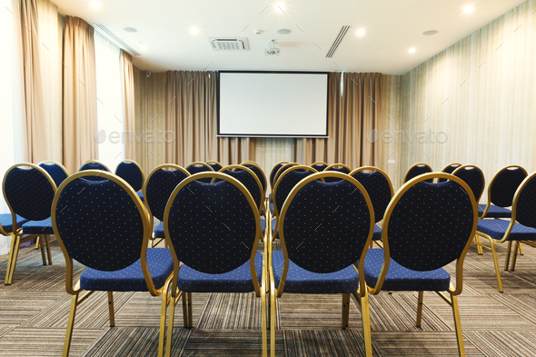Interior of modern conference hall in hotel Stock Photo by Milkosx