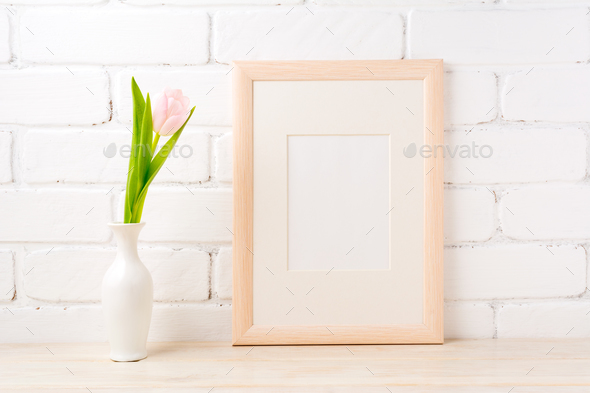 Wooden Frame Mockup With Pale Pink Tulip In Vase Stock Photo By Tasipas
