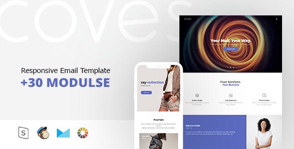 Coves Responsive Email Template Minimal By Zay ThemeForest - Minimal email template