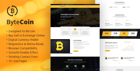 buy template html  ByteCoin - Bitcoin And Crypto Currency HTML Template by TonaTheme ...