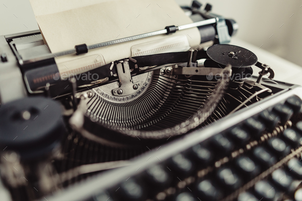 metal parts of old typewriters stock photo by konstantinkolosov