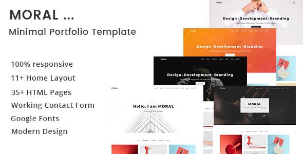 moral minimal portfolio template by basictheme themeforest