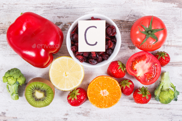 Fresh fruits and vegetables containing vitamin c dietary fiber and fresh fruits and vegetables containing vitamin c dietary fiber and natural minerals stock photo workwithnaturefo