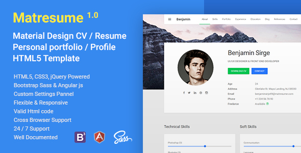 matresume material cv resume vcard portfolio html template resume cv - Cv Web Template Html5