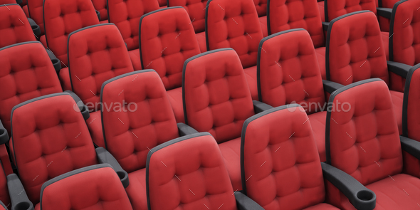 Empty Red Cinema Chairs. Perspective View. 3d Rendering Image. Stock Photo  By Ilyarexi