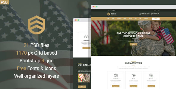 wariox military and veteran psd template by mwtemplates themeforest
