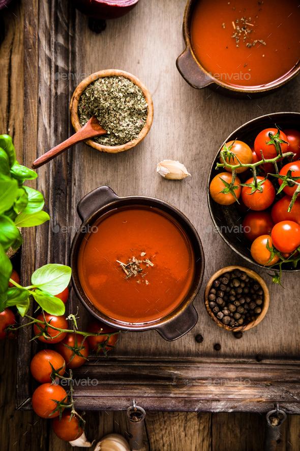 Tomato soup Stock Photo by mythja   PhotoDune