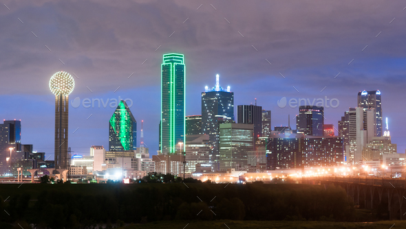 downtown dallas skyline east texas city urban landscape stock photo