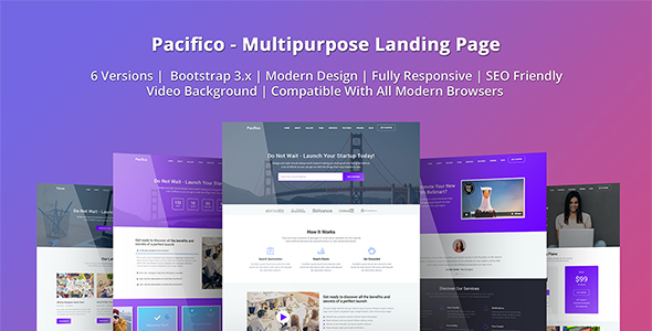 Pacifico Multipurpose HTML Landing Page Template By EpicThemes - Video landing page templates