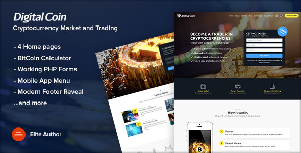 Digital Coin  Cryptocurrency Marketing And Trading Site Template By