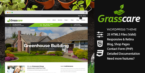 GrCare - Gardening & Lawn Responsive WordPress Theme by Farost ... on