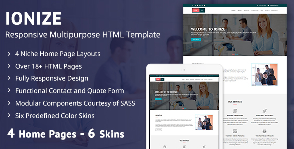 Ionize - Responsive Multipurpose HTML Template by themeitems ... on online email, online faq, online documentation,