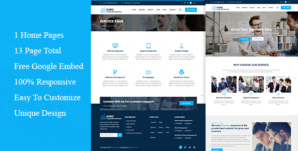 Allbiz Corporate Business Responsive Template By ThemeEarth - Google pages templates