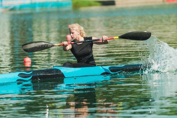 kayak female kayaker training stock photo by microgen photodune