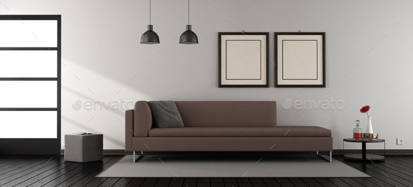 Minimalist Living Room With Sofa   Stock Photo   Images