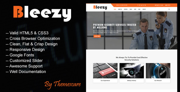 Bleezy - Security Company HTML Template by Themescare | ThemeForest