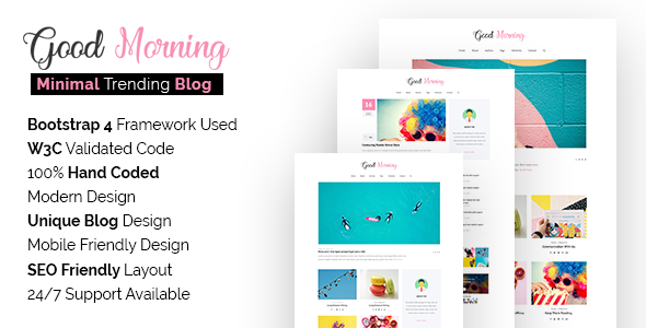 Good Morning SEO Friendly Minimal Blog Site Template By Themeixlab - It web page template
