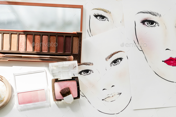 Closeup of blushers and eyeshadow on face charts Stock Photo by Rawpixel