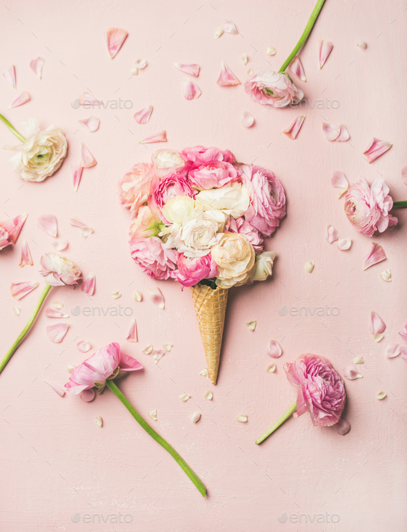 Waffle cone with pink and white buttercup flowers stock photo by waffle cone with pink and white buttercup flowers stock photo images mightylinksfo