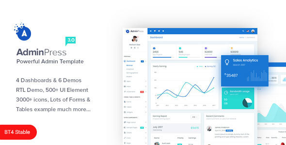 Admin Press The Ultimate Powerful Bootstrap 4 Admin Template By