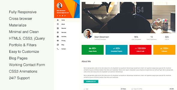matecard materialize vcard cv resume html template by beshleyua
