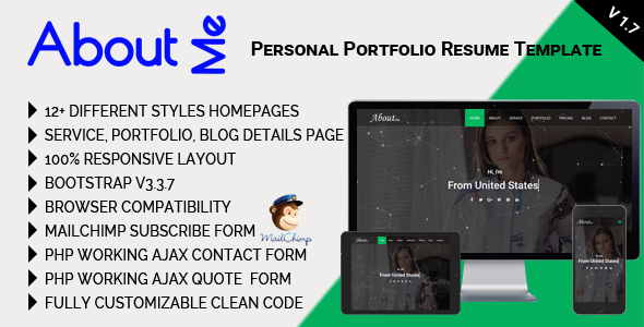 AboutMe - Personal Portfolio Resume Template by mgscoder | ThemeForest