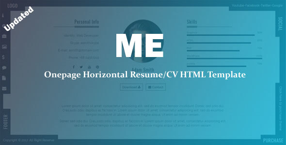 ME - Onepage Horizontal Resume/CV Template by CodePedant | ThemeForest