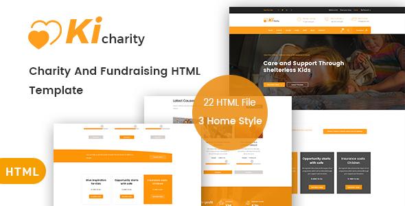 kicharity charity fundraising html template charity nonprofit