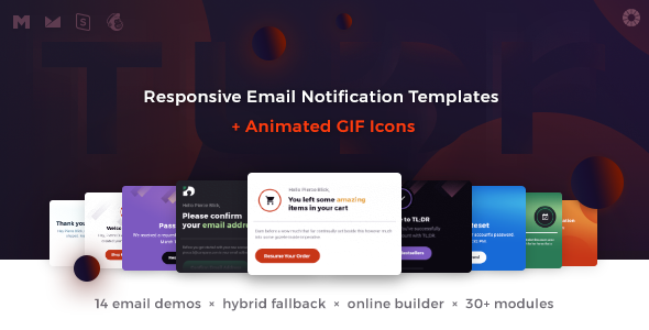 TLDR Responsive Email Notification Templates Animated GIF Icons - Hybrid email template