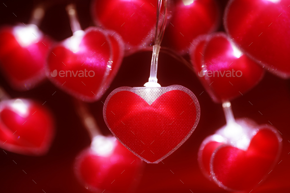 Red Heart Fairy Lights Valentine S Day Background Stock Photo By