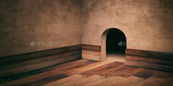 Mouse House Hole On Plastered Wall Wooden Floor And Skirting Copy
