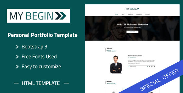 my begin personal portfolio html template personal site templates