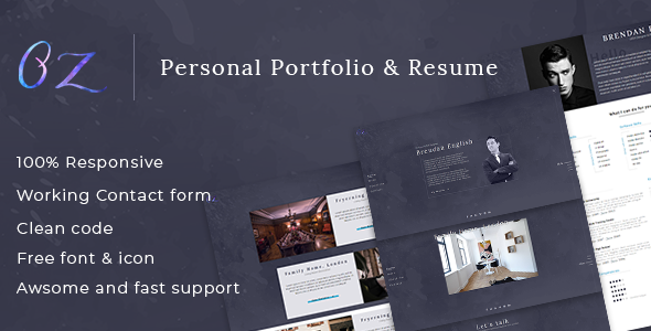 Oz multipurpose portfolio html template by linxtheme themeforest oz multipurpose portfolio html template virtual business card personal reheart Image collections