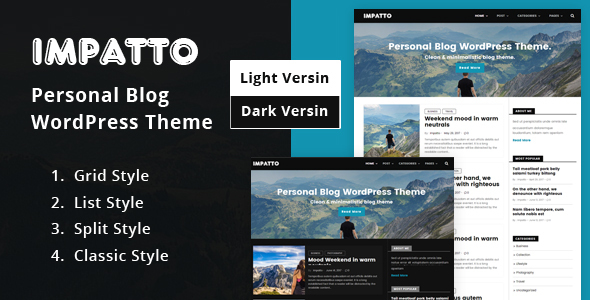 Impatto - Personal Blog WordPress Theme. by zedwebthemes   ThemeForest