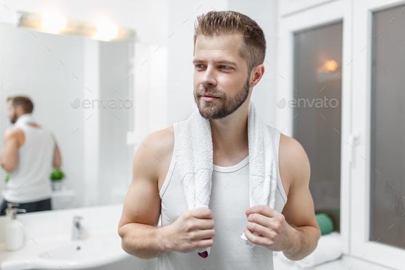 looking in mirror. Plain Mirror Morning Hygiene Man In The Bathroom Looking Mirror  Stock Photo  Images On Looking In Mirror