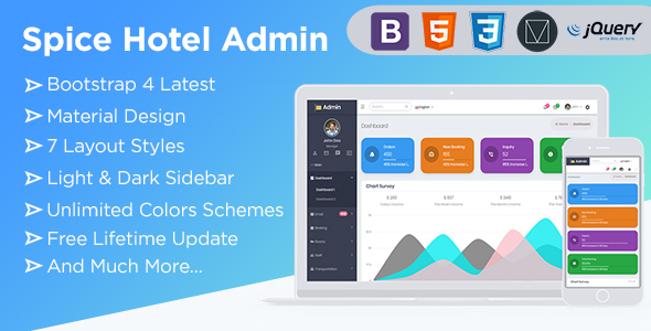 spice hotel bootstrap 4 admin dashboard template with material components ui kit admin