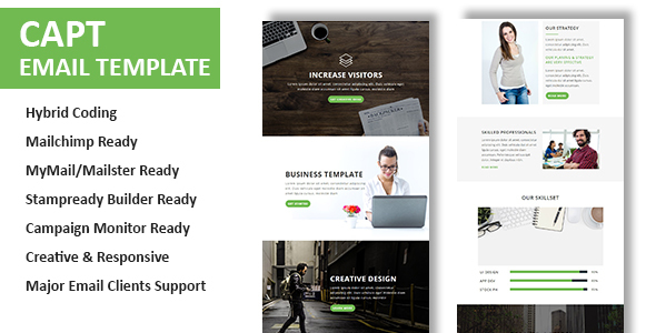 Capt Multipurpose Responsive Email Template With Online StampReady - Hybrid email template