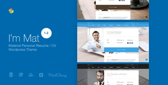 I am Mat Material Personal Resume CV vCard WordPress Theme by