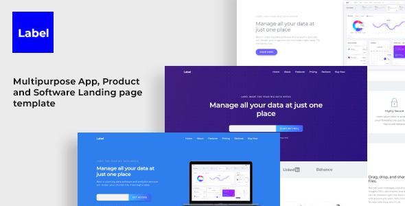Label Software And App Landing Page Template By YDirectionThemes - Website landing page templates
