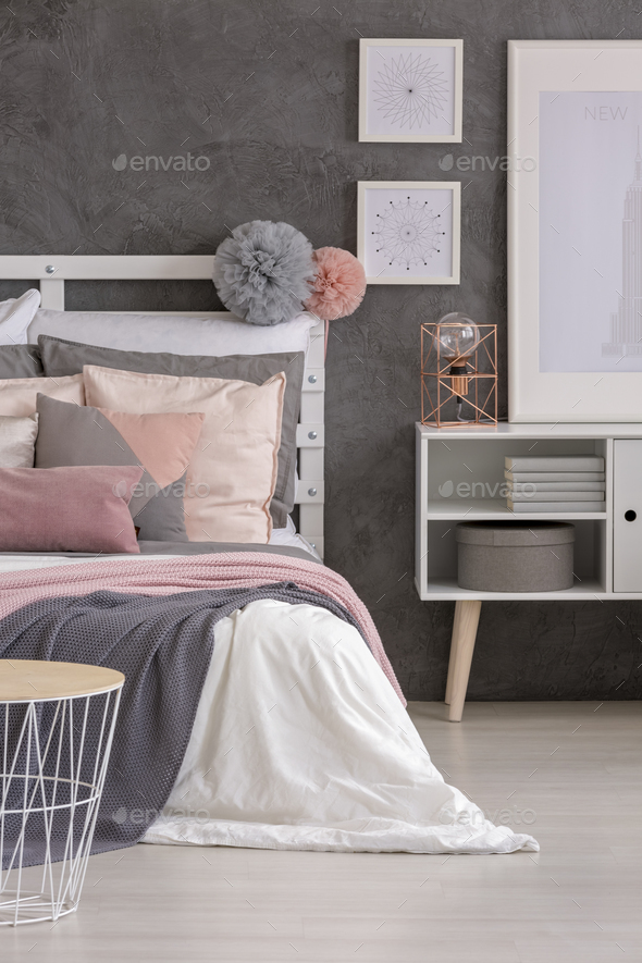 Pastel Bedroom Interior   Stock Photo   Images
