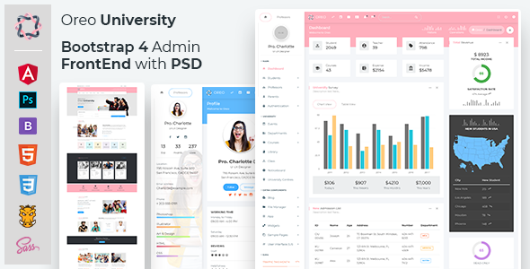 Oreo University - Bootstrap 4 Admin + Front End with PSD by thememakker