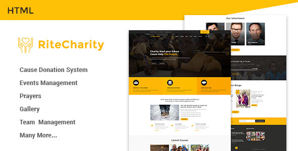 Rite Charity Donation | Nonprofit / Fundraising HTML Template by ...